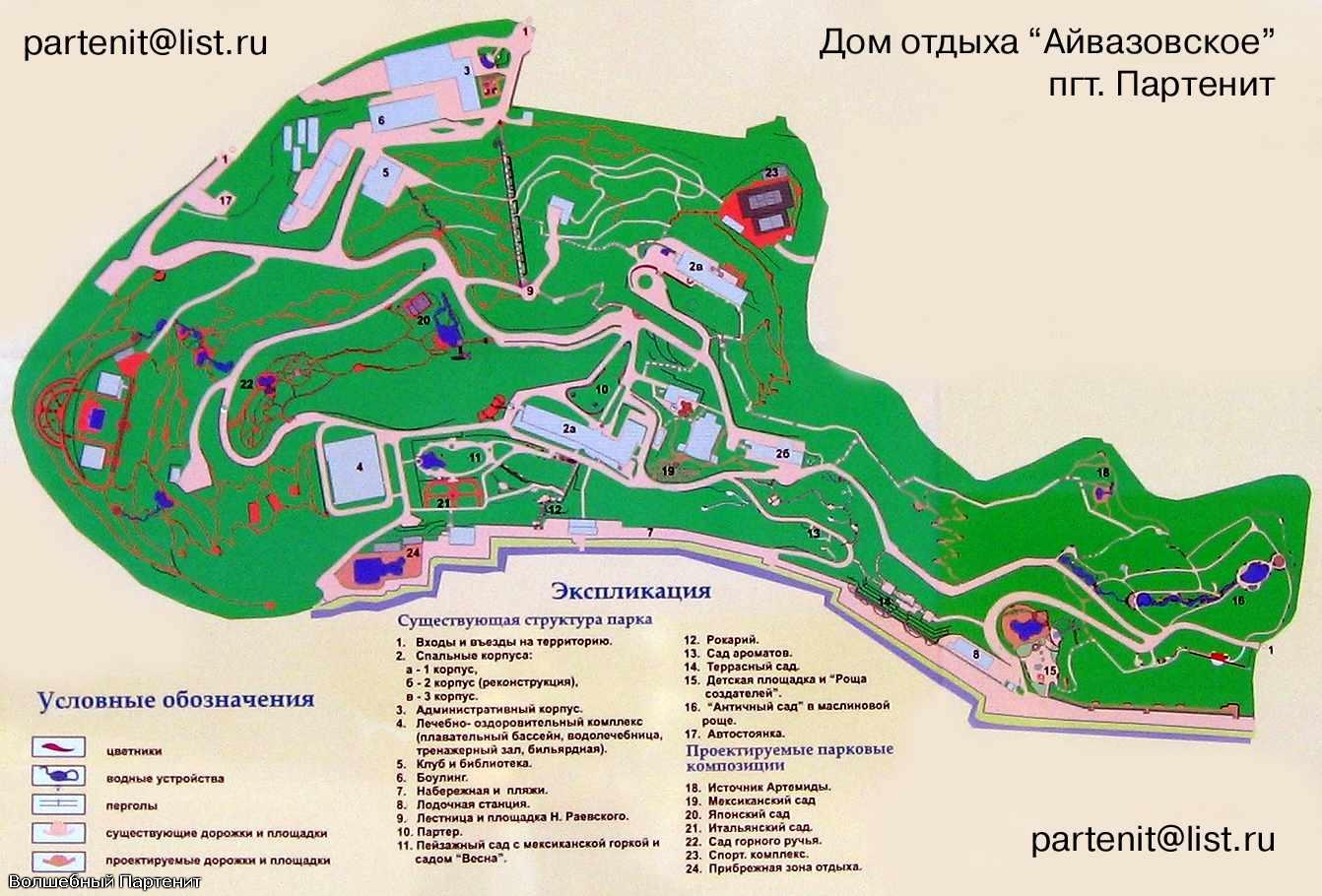 Партенит крым парк айвазовского схема парка